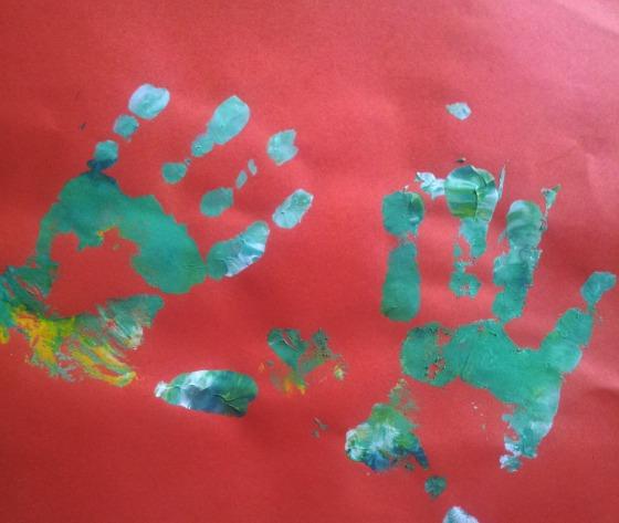 Rainbow handprints