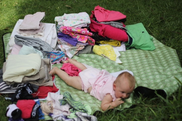 Baby eats grass and messes up undie pile
